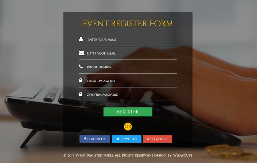 Event Register Form Flat Responsive Widget Template