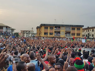No Referendum, No Election in South-East - Nnamdi Kanu Says, Storms Anambra as Crowd Welcomes Him