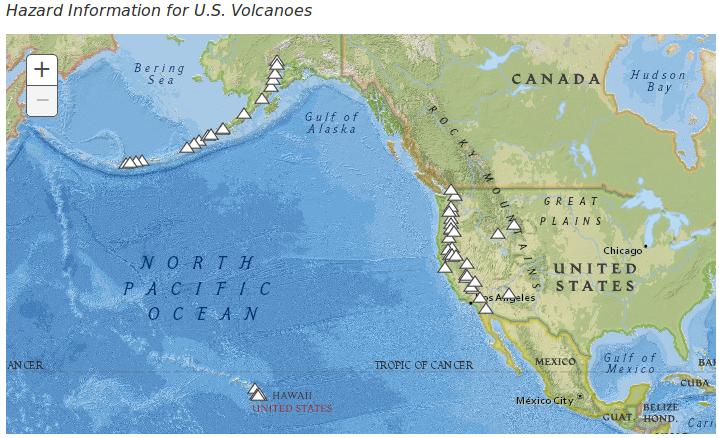 US Volcano Hazard Risk Map Active Volcanoes In The Continental