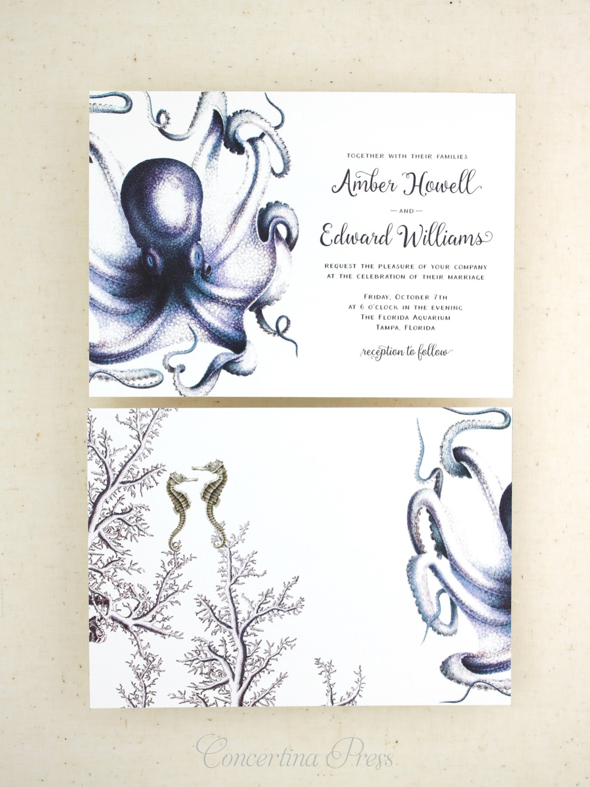 Stunning Octopus Wedding Invitations double sided luxury printing at an affordable price