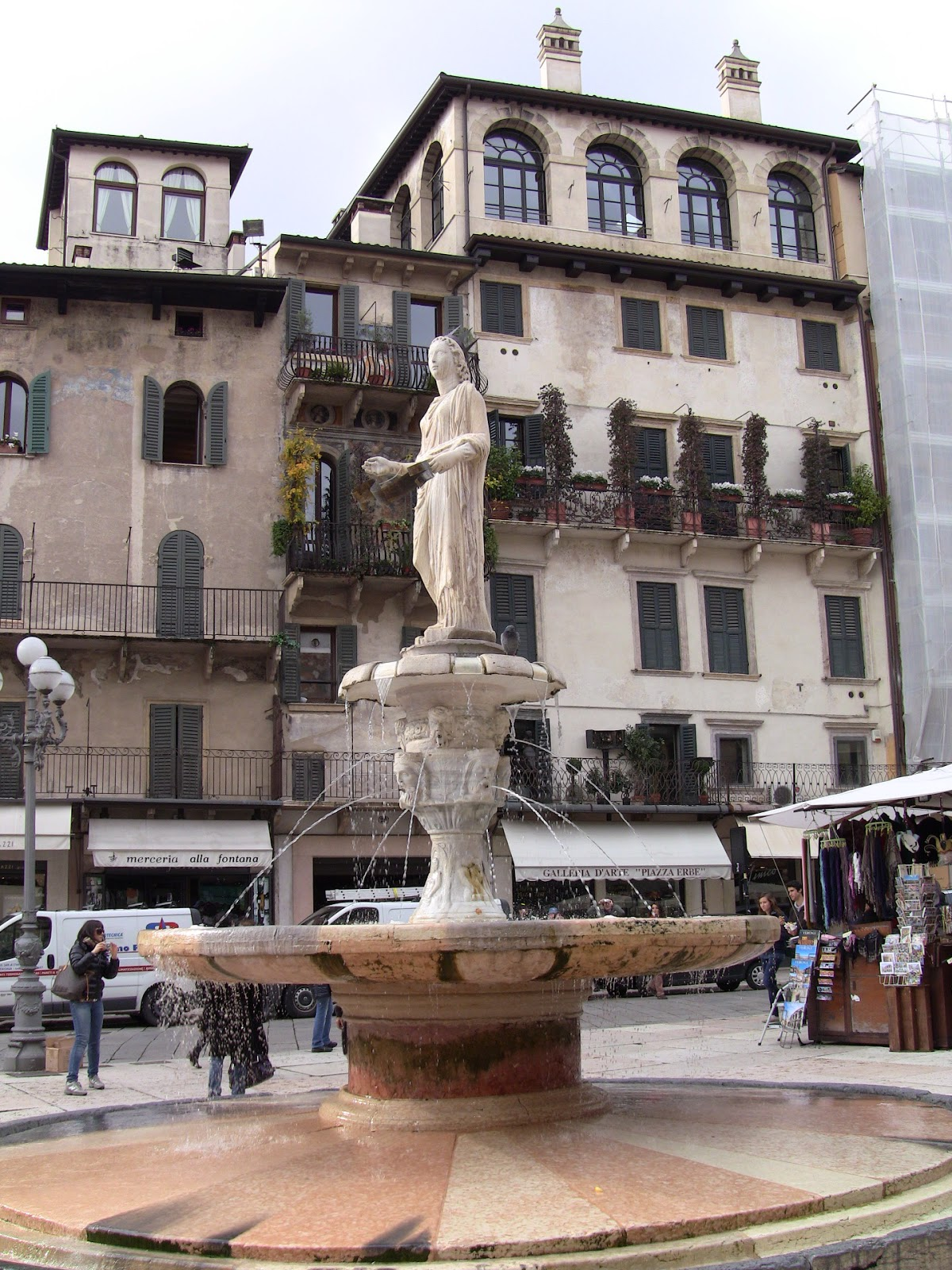 The Madonna Verona in the Piazza delle Erbe is 2,000 years old. Photo: Gail Keller, WineTrekkerTV.com.