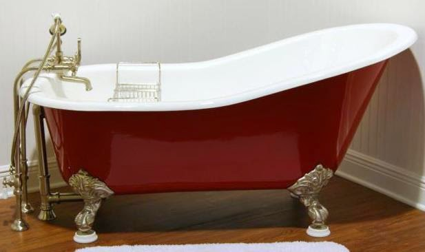 Tubking Slipper Clawfoot Tub In Red And Gold