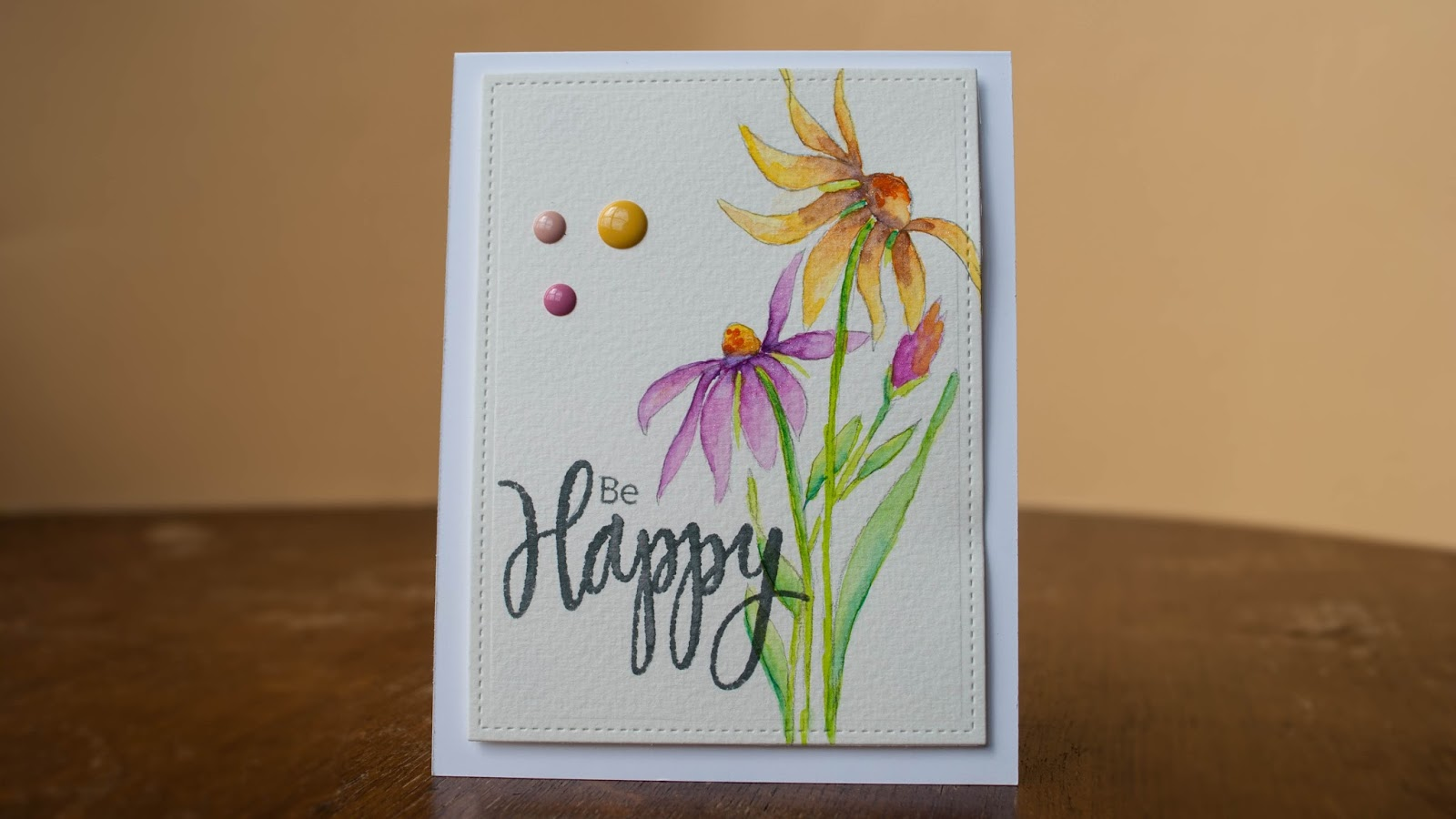 watercolor card be happy, cone flowers hand drawn finished project