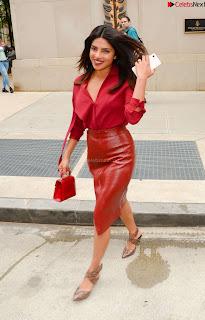 Priyanka Chopra in Red Leather Jacket ~ .xyz Exclusive