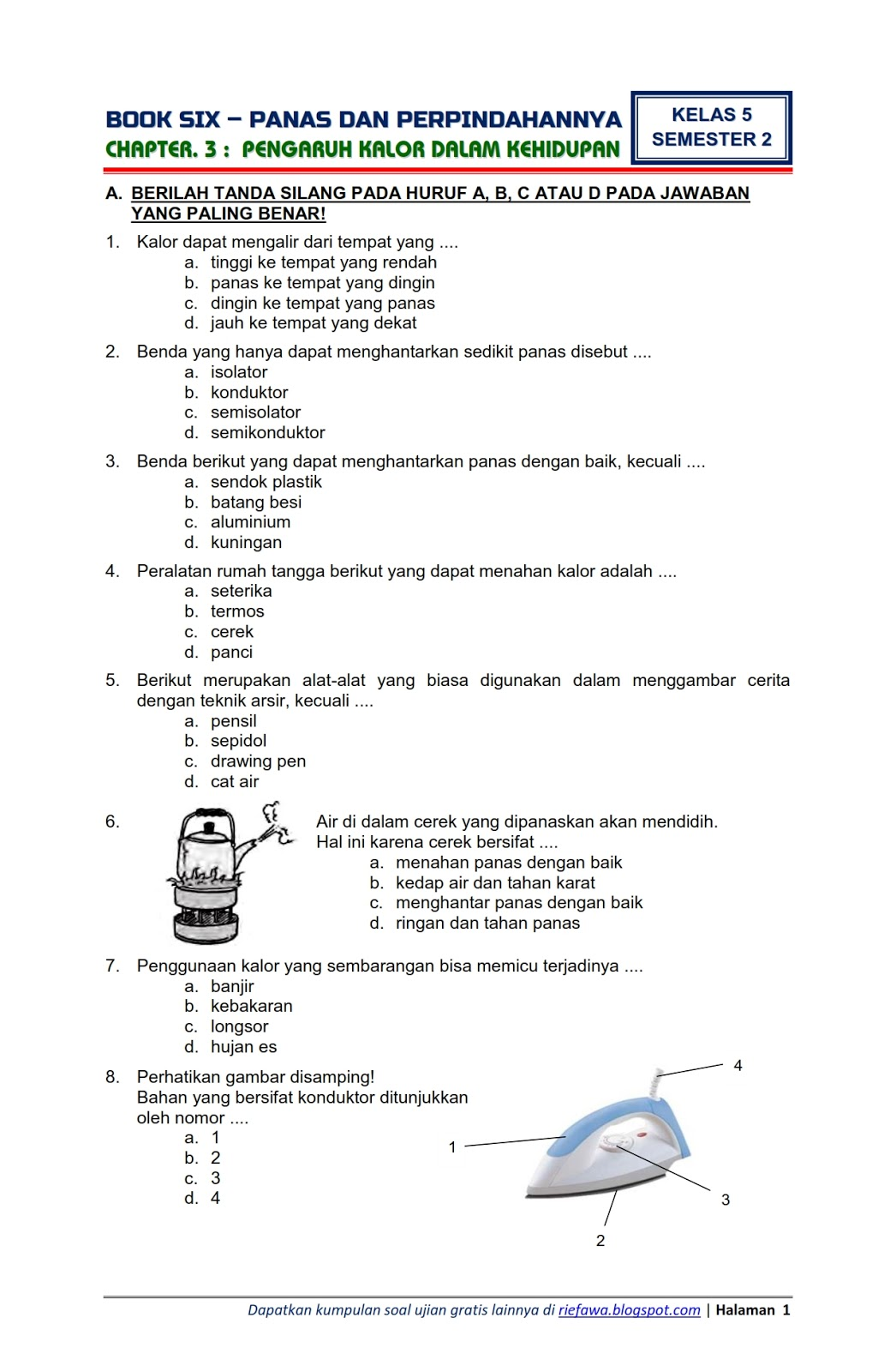 Soal PTS / UTS Tema 6 Kelas 5 Semester 2 K13 T.A 2019/2020