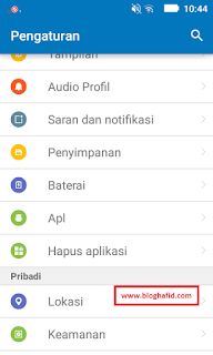 Menu aplikasi settings android