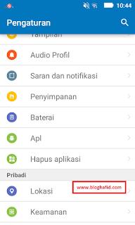 Menu aplikasi settings android