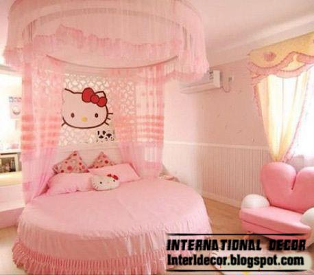 hello kitty girls bedroom themes and style for modern girls room, pink girls toom