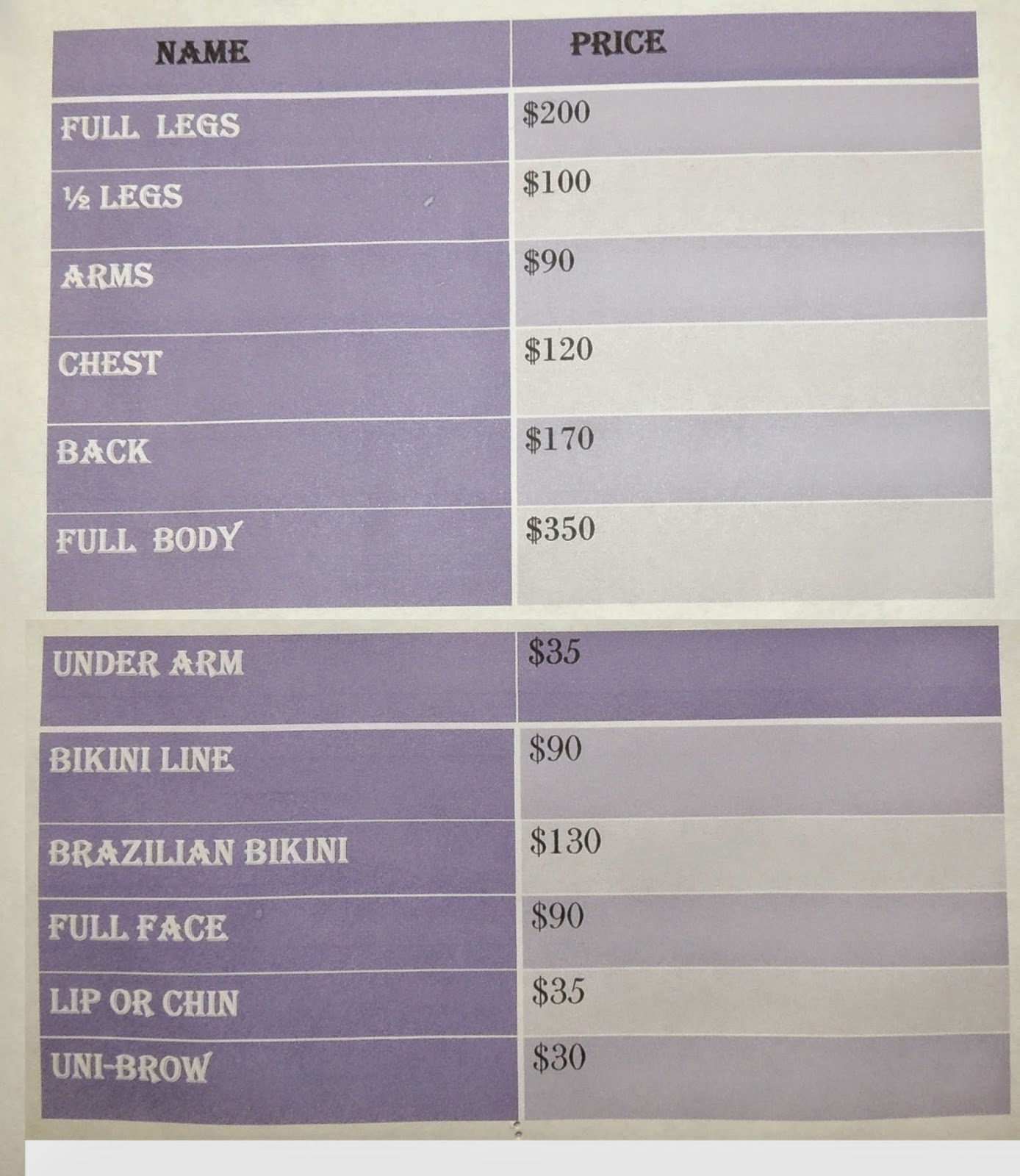 R G Inc Laser Center Laser Hair Removal Price List