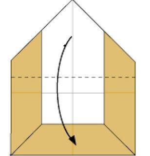 Bước 6: Gấp cạnh trên tờ giấy hướng xuống phía dưới.