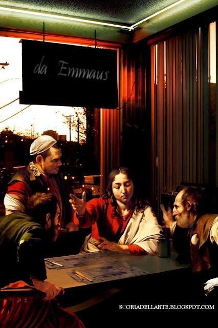 Cena in Emmaus-Caravaggio-Dipinti classici in chiave moderna