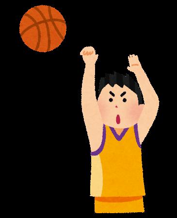 バスケットボールのシュートのイラスト