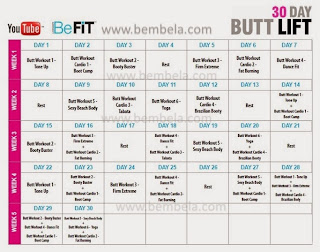 Calendário 30 Day Butt Lift Be Fit
