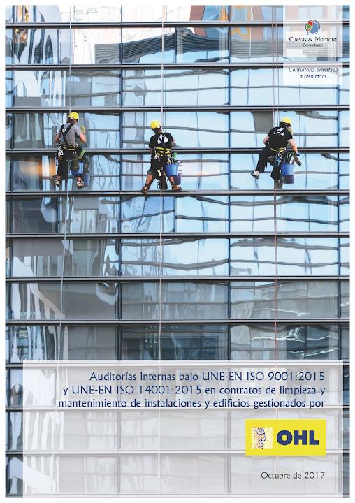 Portada del contrato por el que Cuevas y Montoto Consultores realizará auditorías internas bajo las normas ISO 9001 de Calidad e ISO 14001 de Medio Ambiente en contratos de OHL Servicios (Ingesan)