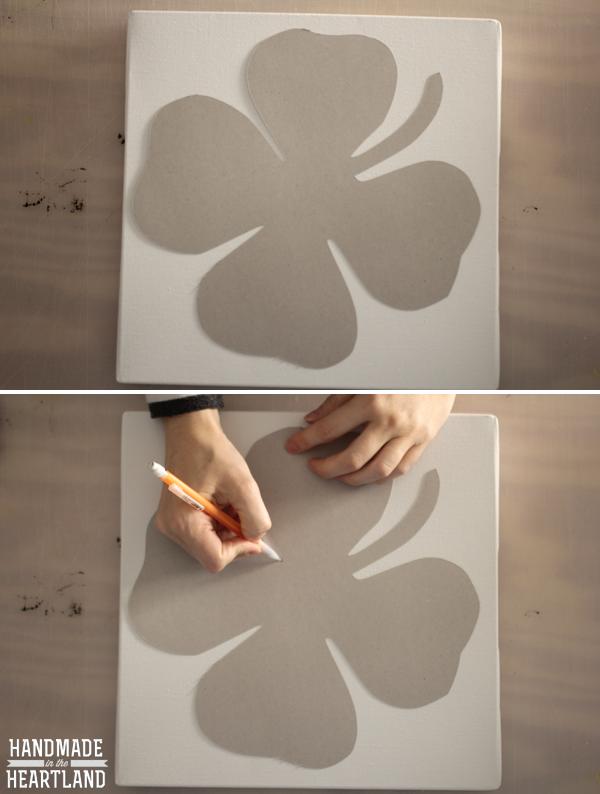 DIY Lucky Shamrock Canvas Art, tutorial