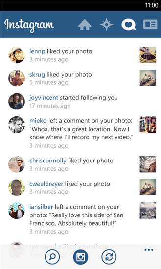 Notifikasi Instagram resmi untuk Windows Phone