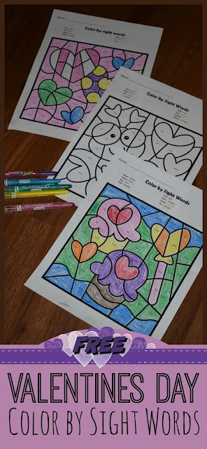 FREE Valentines Day Color by Sight Words Worksheets - these are NO PREP and perfect to help preschool, kindergarten, and first grade practice key sight words in a fun, hands on activity. This would make a great valentines day center, theme, home preschool, homeschool, morning seat work, or fun homework.