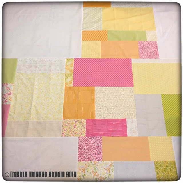 scrappy quilt backing, scrap quilts, Thistle Thicket Studio, Sunkissed fabric, quilts, quilting