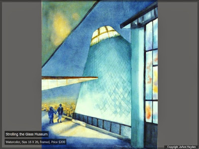 watercolor painting of the Tacoma Museum of Glass by artist, JoAnn Hayden