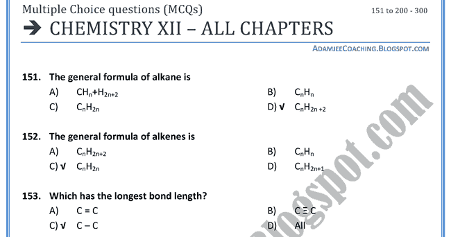 ENTRY TEST MCQ'S AND NOTES FOR XI AND XII: Chemistry Mcqs XII - All