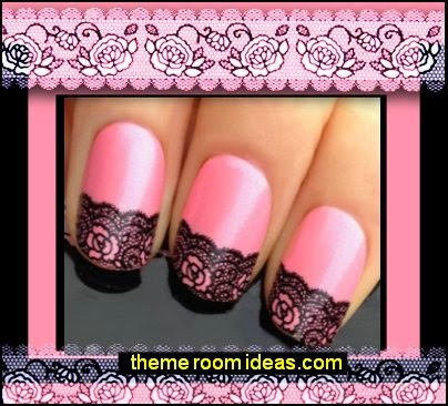 lace nail art - lace themed nail decorations