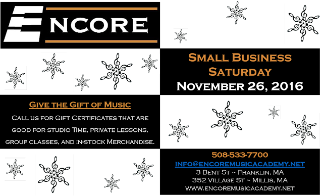 Give the gift of Music - Small Business Saturday - Encore Music Academy