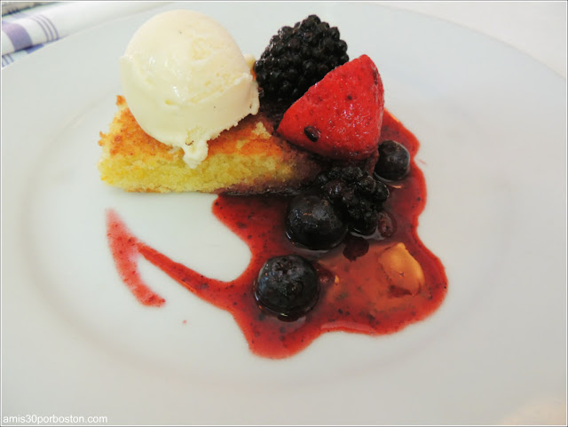 Olive Oil Cake, Macerated Berries, Vanilla Ice Cream