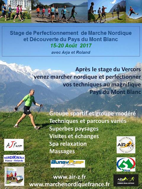 Stage de Perfectionnement de Marche Nordique et  Nordic-Trail Bâtons au Pays du Mont Blanc 15-20 Août 2017