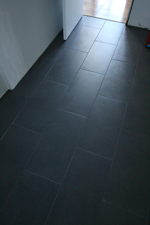 Large dar grey floor tile