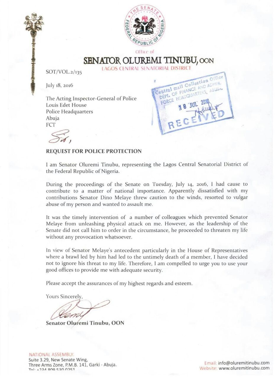 senator oluremi tinubu representing the lagos central senatorial district sent a letter requesting for police protection after threats from senator