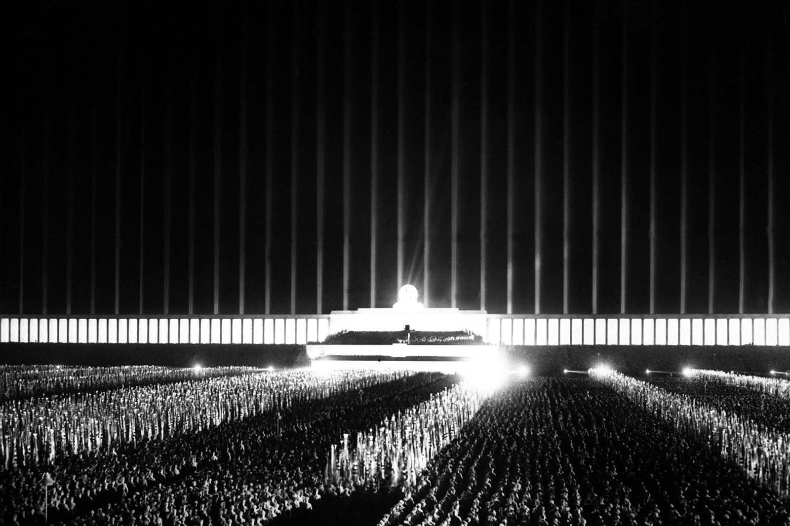 Nazi rally in the Cathedral of Light, 1937.