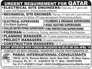 Urgent requirement for Qatar