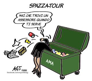 m5s, raggi, roma, muraro, dimissioni, avviso di garanzia, satira, vignetta