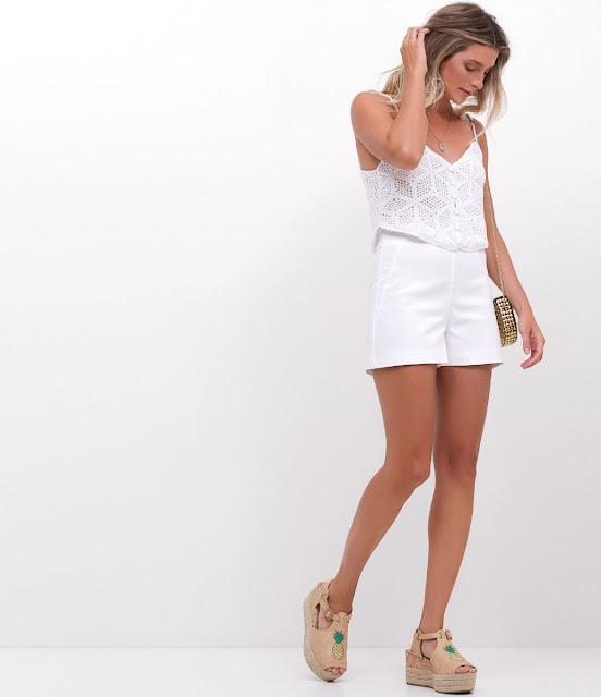 Moda Reveillon Blusa Cropped em Retilínea