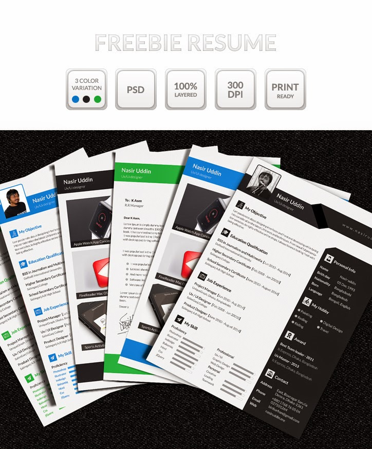 Multi Page Resume PSD Template