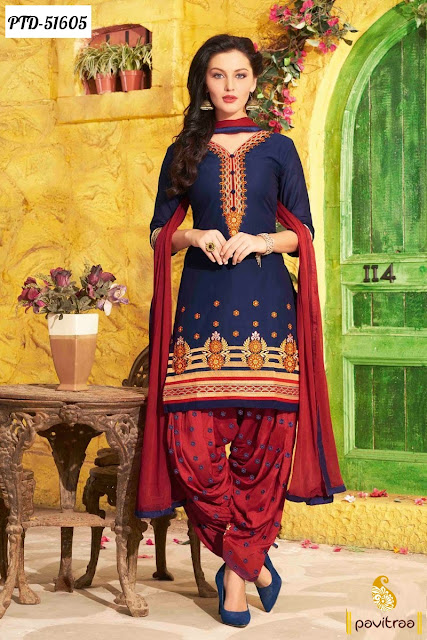 cobalt blue color chiffon embroidery punjabi patiala salwar suit 2016 online at lowest price