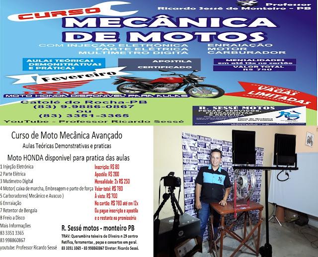 Curso de mecânica de motos será realizado em Catolé do Rocha pelo Professor Ricardo Sessé
