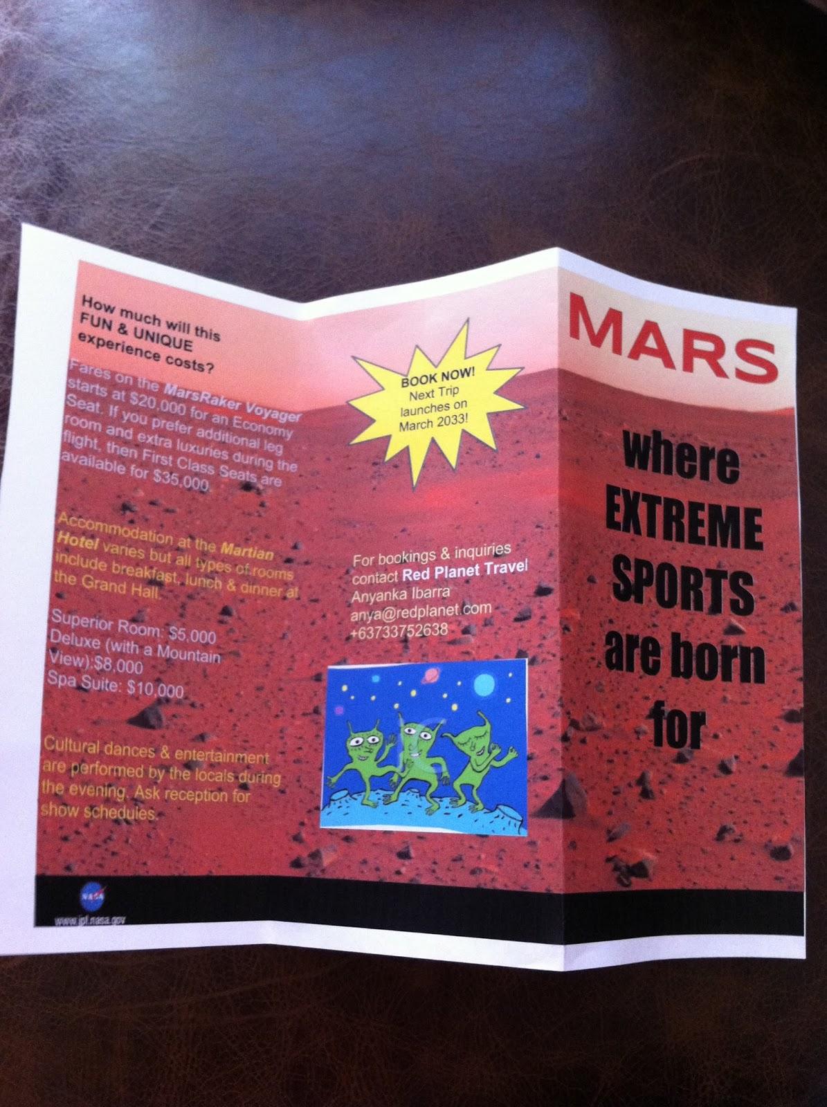 Mars Travel Brochure Craymen5 Org