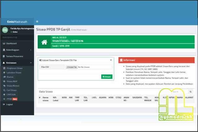 Form Upload Siswa Gres Emis Online 2018/2019