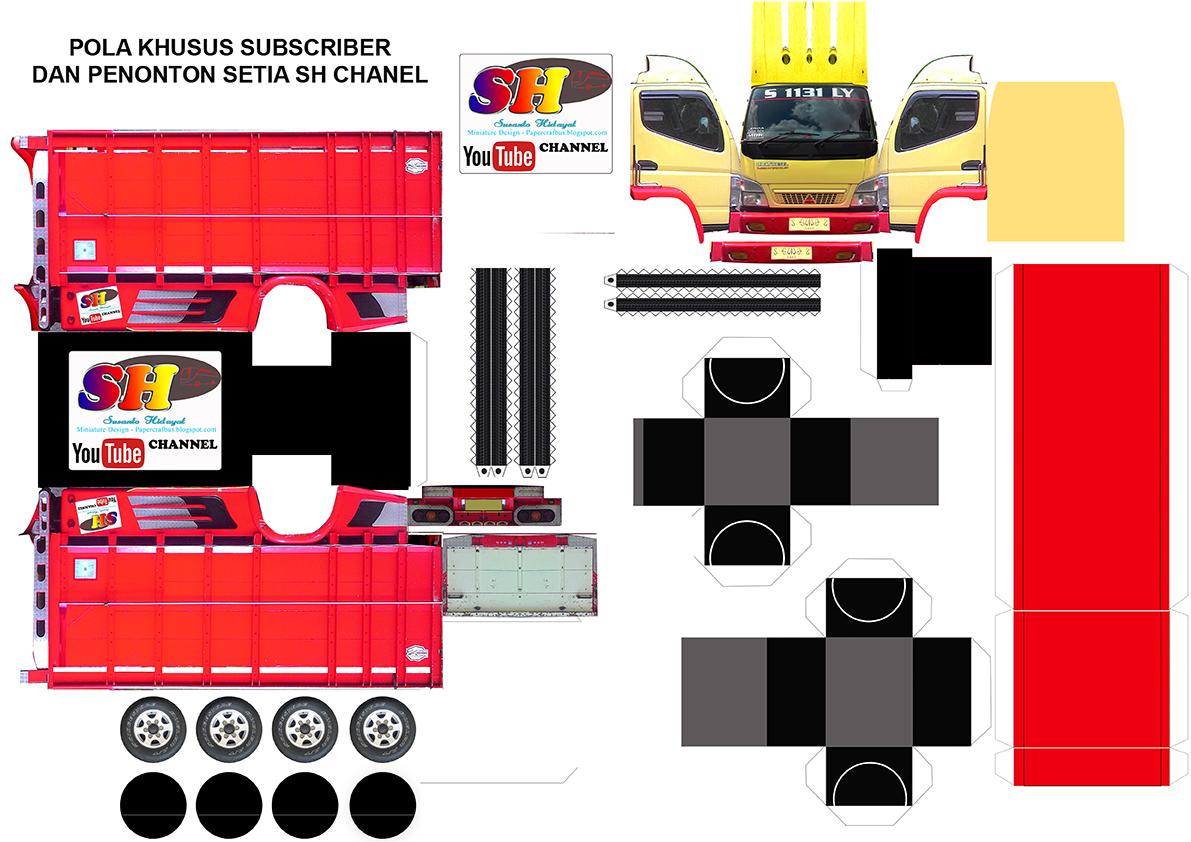 Design Papercraft Bus Pola Miniatur Papercraft Truk Canter