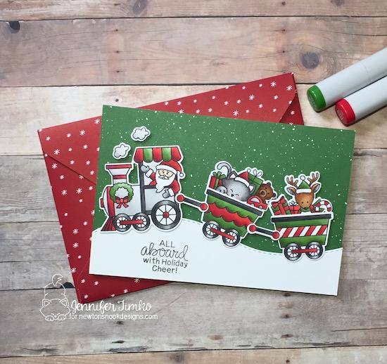 Christmas Train Card by Jennifer Timko | All Aboard for Christmas Stamp Set by Newton's Nook Designs #newtonsnook