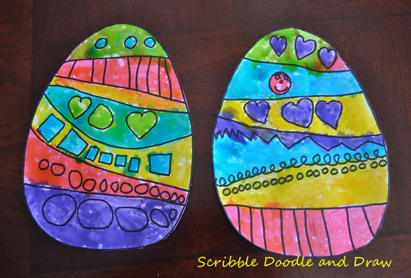 colorful Easter egg paintings made with edible paint