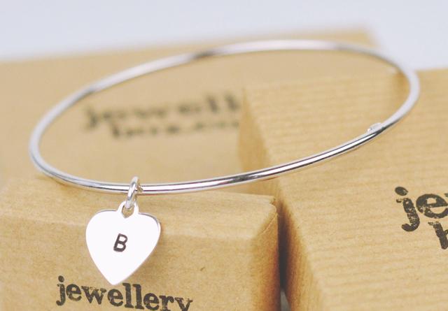 Jewellery Box silver customised initial bracelet