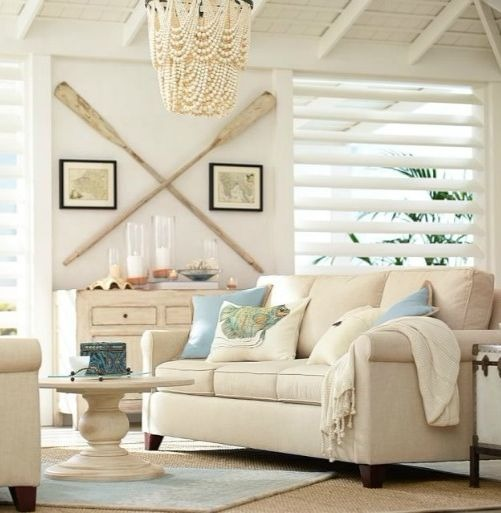 Beige Neutral Nautical Living Room Idea with Wall Oars