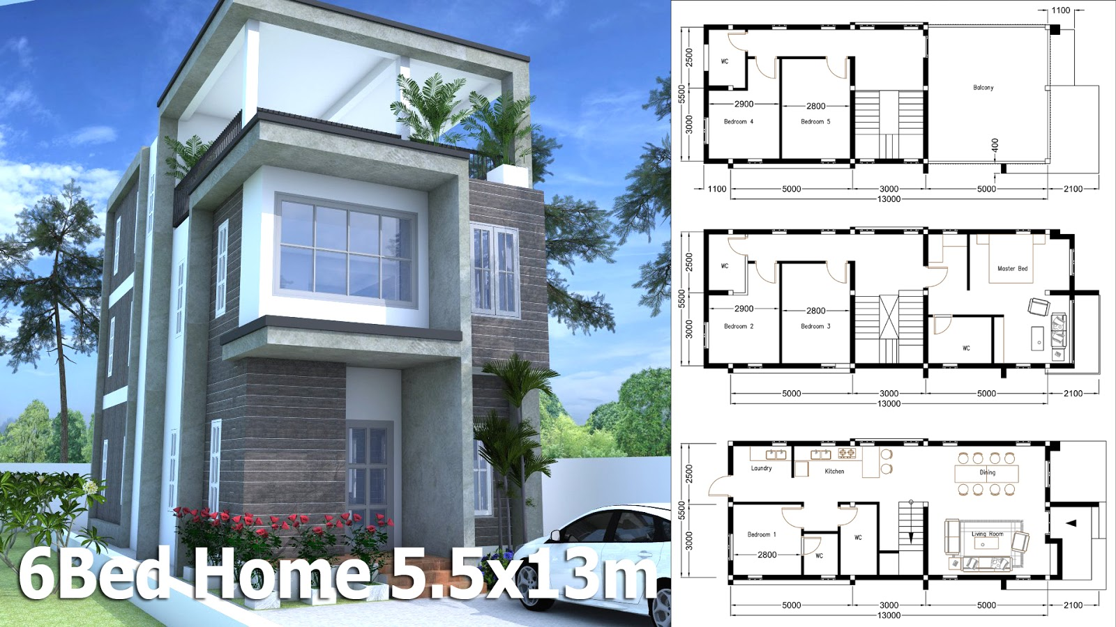 Sketchup modern home plan with 6 bedroom sam for 6 bedroom homes