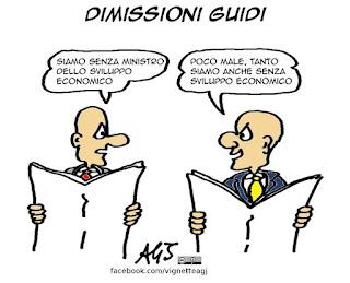 dimissioni, guidi, governo, sviluppo economico, vignetta, satira