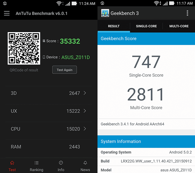 Antutu and Geekbench benchmarks