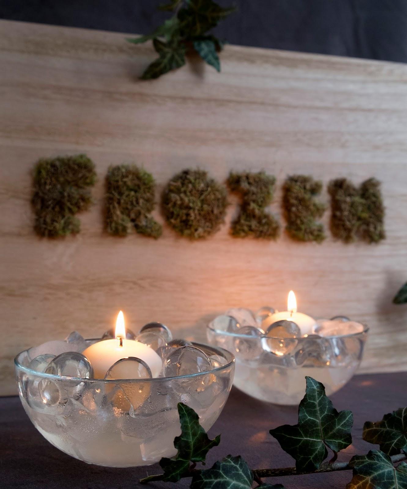 kaarsen met ijs als decoratie