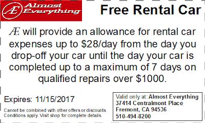 Coupon Free Rental Car October 2017