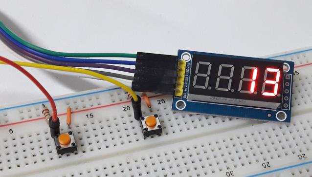 Contador com módulo display 4 dígitos 74HC595